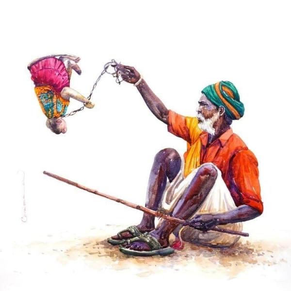 L'Inde en dessins 8 Dresseur de singe