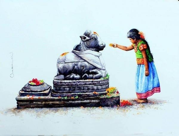 L'Inde en dessins 4 Offrande à Nandi