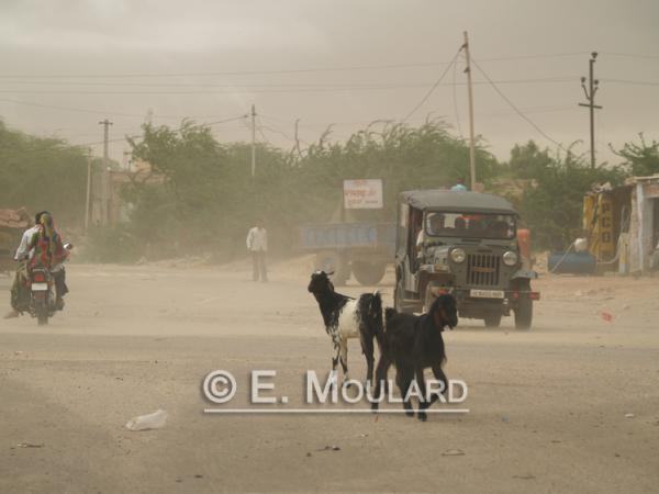 Une route, au Rajasthan, avant la tempête