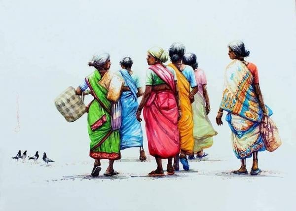 L'Inde en dessins 19 Femmes de dos