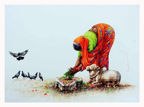 L'Inde en dessins 12 Offrande au lingam