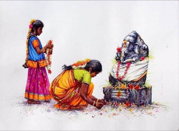 L'Inde en dessins 17 Offrande à Ganesh